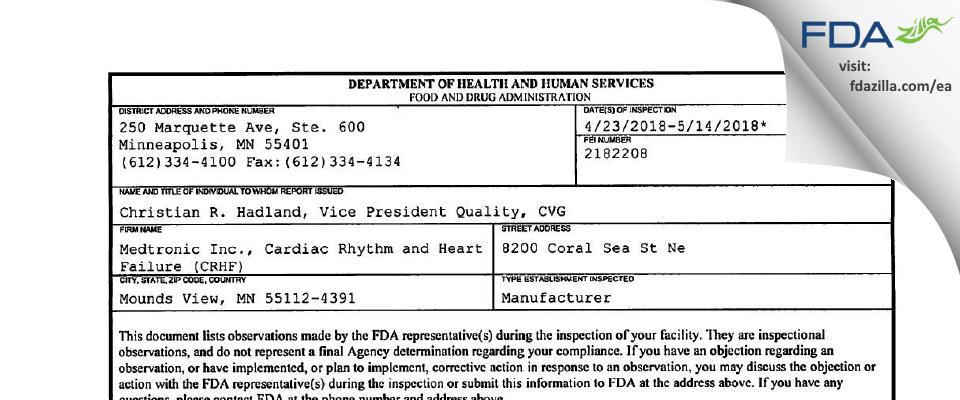 Medtronic, Cardiac Rhythm and Heart Failure (CRHF) FDA inspection 483 May 2018
