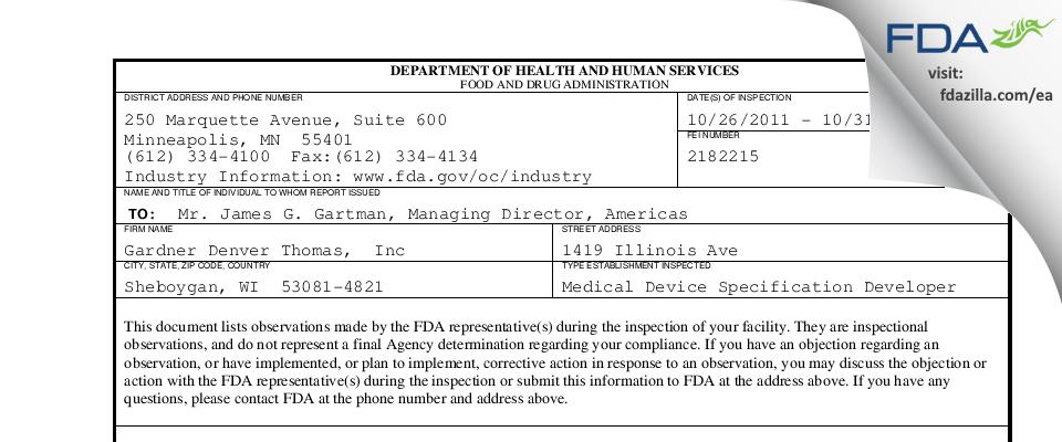 Gardner Denver Thomas, FDA inspection 483 Oct 2011