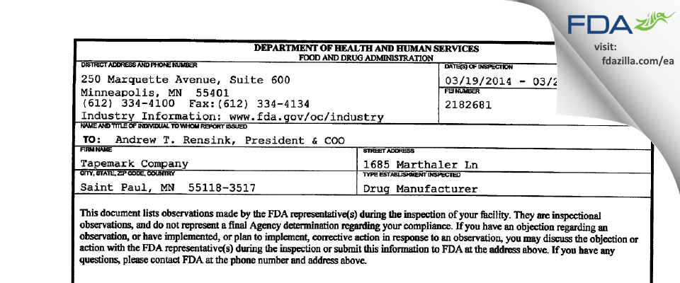 Tapemark Company FDA inspection 483 Mar 2014