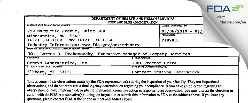 Geneva Labs FDA inspection 483 Mar 2010