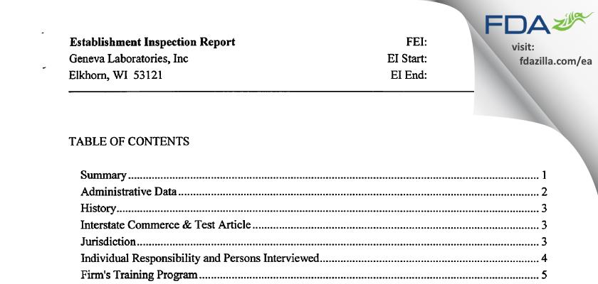 Geneva Labs FDA inspection 483 Jun 2012