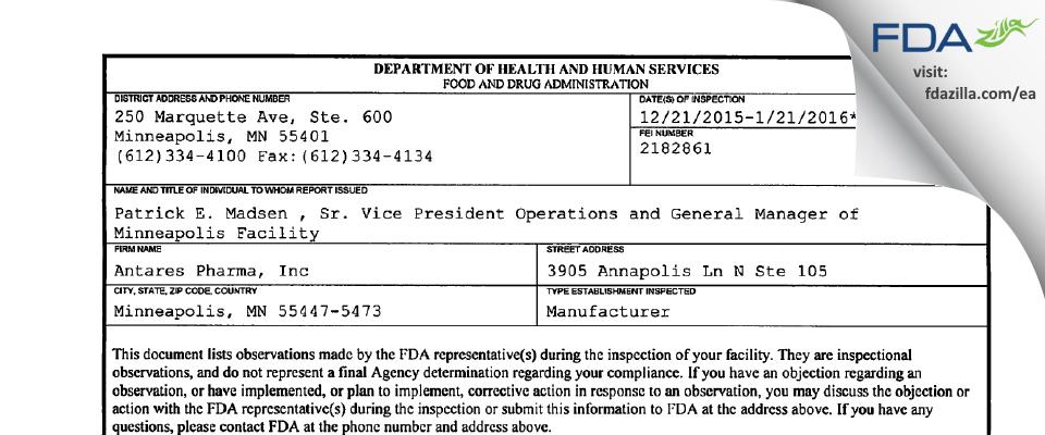 Antares Pharma FDA inspection 483 Jan 2016