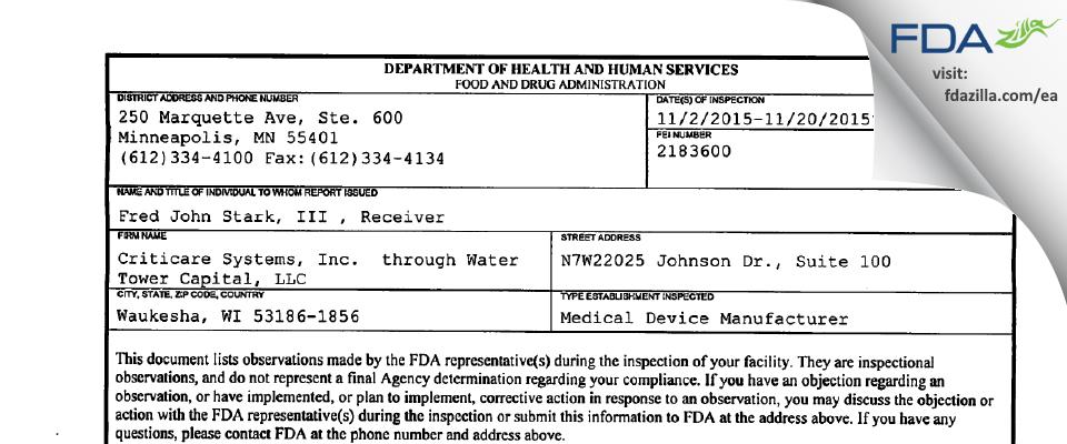 Criticare Systems  through Water Tower Capital FDA inspection 483 Nov 2015