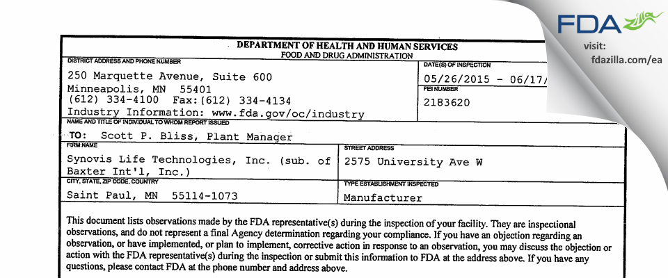 Synovis Life Technologies (sub. of Baxter Int'l) FDA inspection 483 Jun 2015