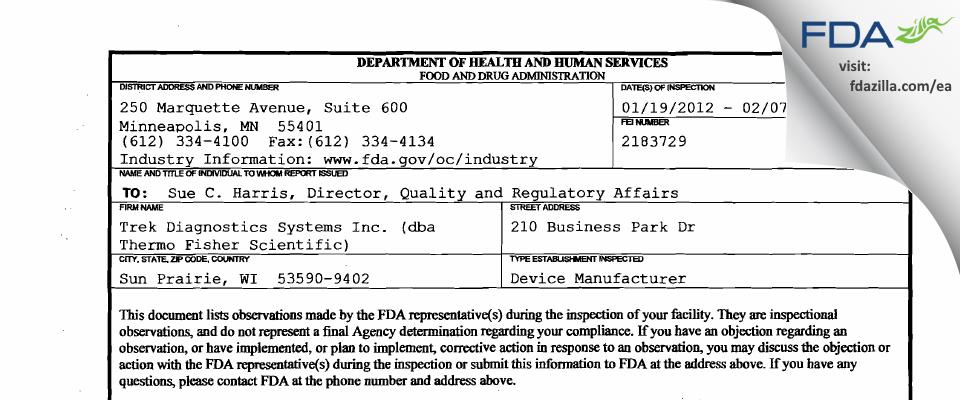 Trek Diagnostics Systems (dba Thermo Fisher Scientific) FDA inspection 483 Feb 2012