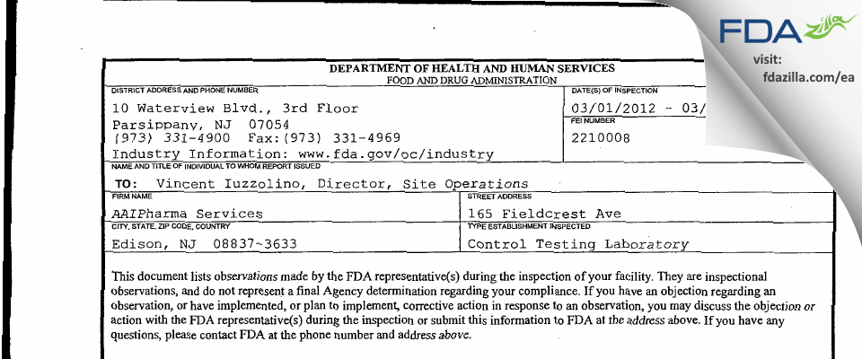 Alcami FDA inspection 483 Mar 2012