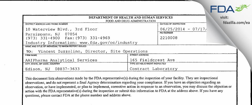 Alcami FDA inspection 483 Jul 2014