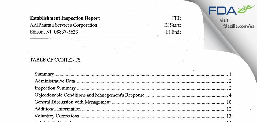 Alcami FDA inspection 483 Aug 2015