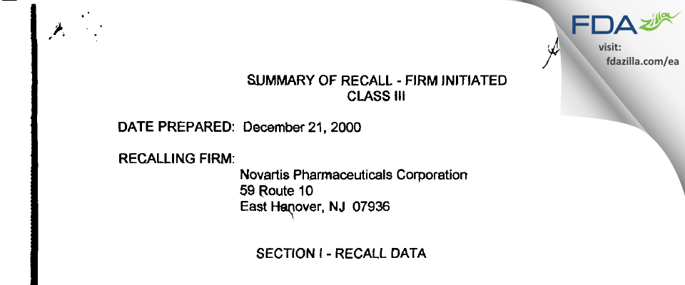 Novartis Pharmaceuticals FDA inspection 483 Feb 2000