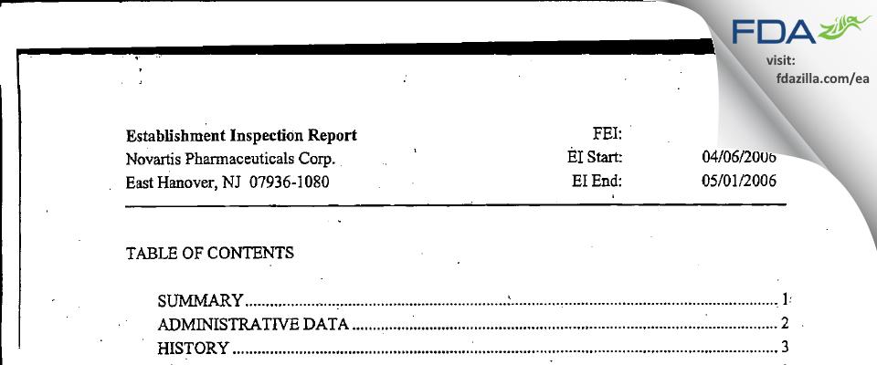 Novartis Pharmaceuticals FDA inspection 483 May 2006