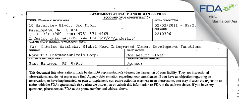 Novartis Pharmaceuticals FDA inspection 483 Feb 2011