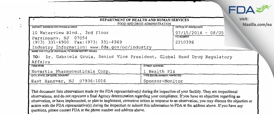 Novartis Pharmaceuticals FDA inspection 483 Aug 2014