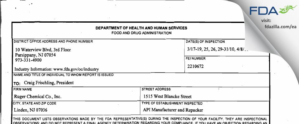 Vantage Specialty Ingredients FDA inspection 483 Apr 2010