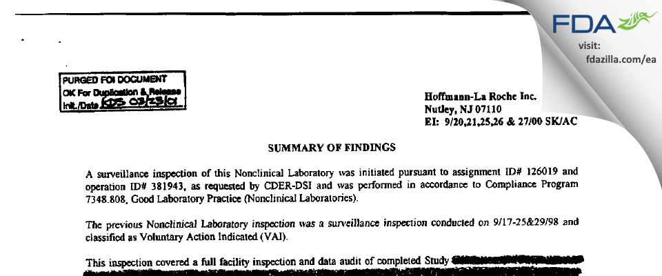 Hoffmann La Roche FDA inspection 483 Sep 2000