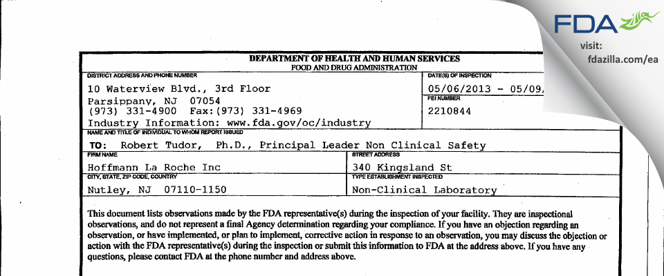 Hoffmann La Roche FDA inspection 483 May 2013