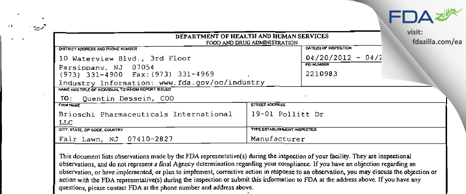 Brioschi Pharmaceuticals International FDA inspection 483 Apr 2012