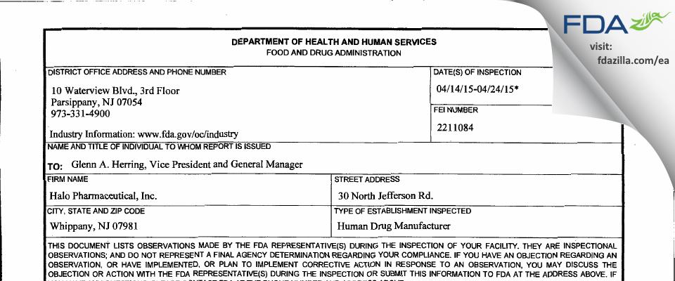 Halo Pharmaceutical FDA inspection 483 Apr 2015
