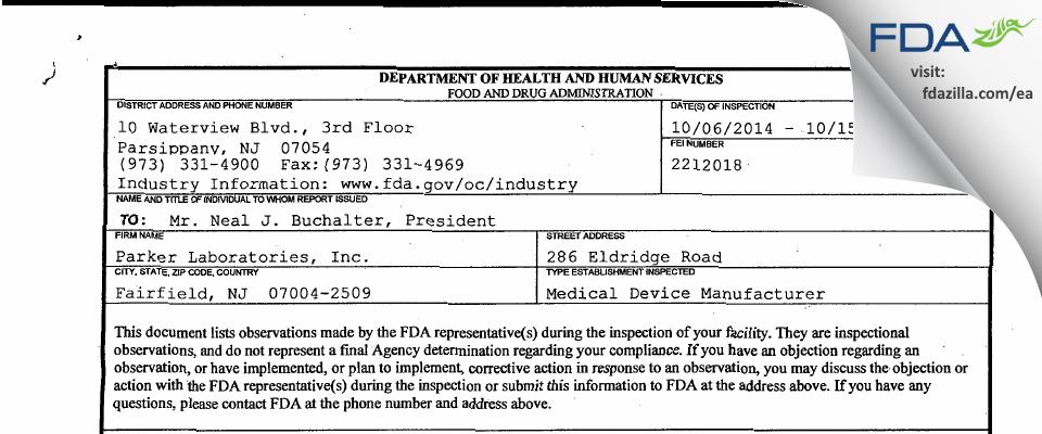 Parker Labs FDA inspection 483 Oct 2014