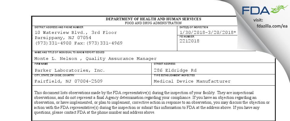 Parker Labs FDA inspection 483 Mar 2018