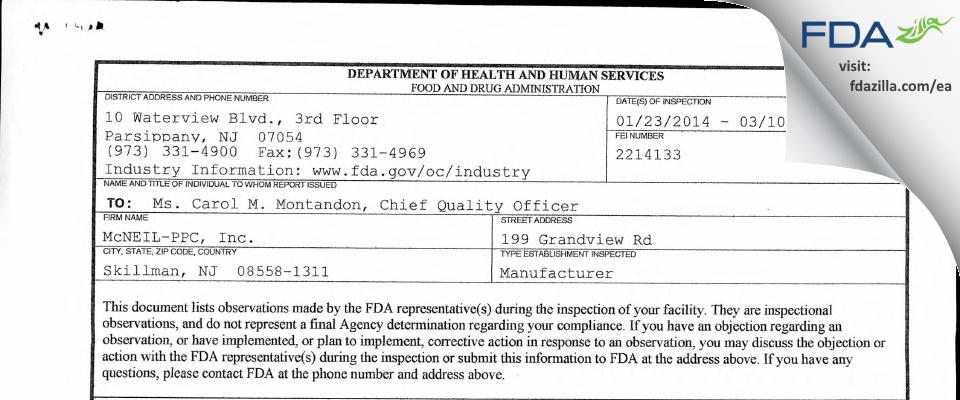 Johnson & Johnson Consumer FDA inspection 483 Mar 2014