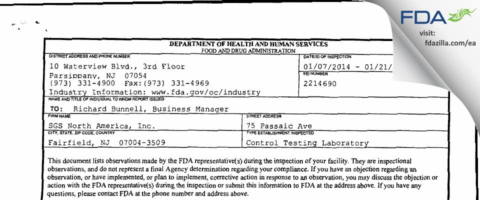 SGS Life Sciences Services FDA inspection 483 Jan 2014