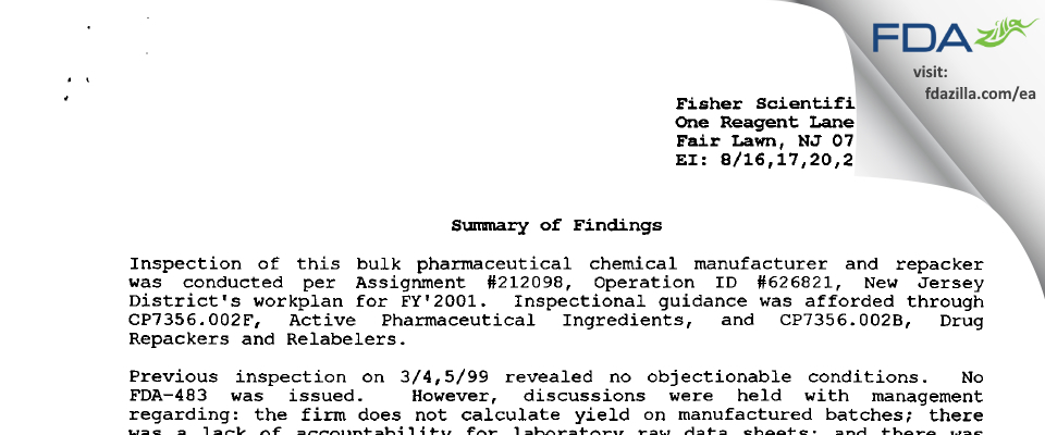 Thermo Fisher Scientific FDA inspection 483 Aug 2001