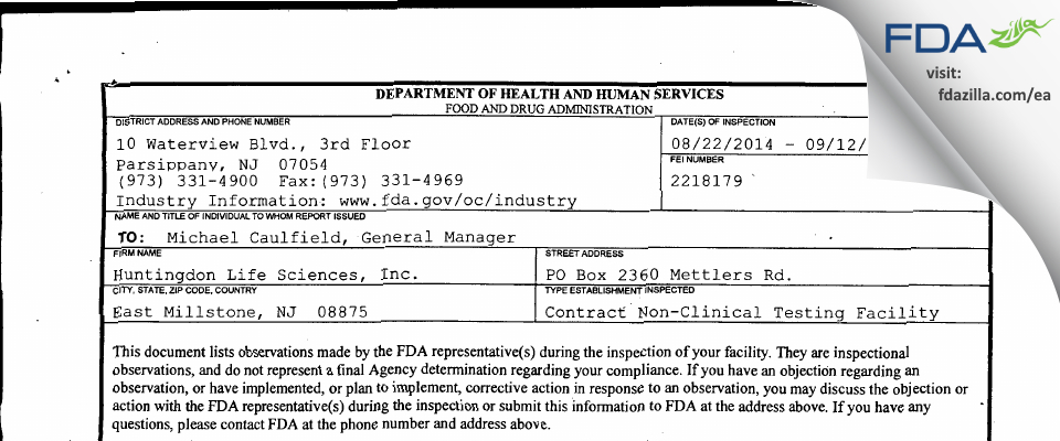 Envigo CRS FDA inspection 483 Sep 2014
