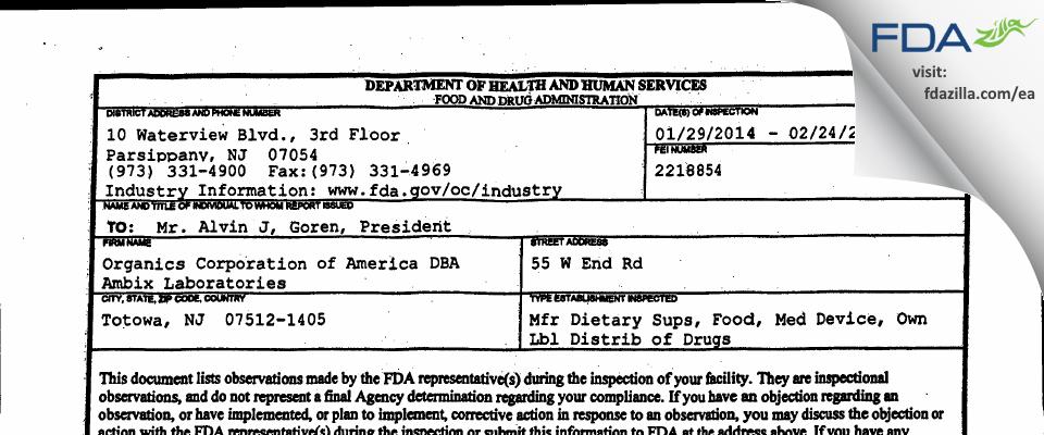 Organics of America DBA Ambix Labs FDA inspection 483 Feb 2014