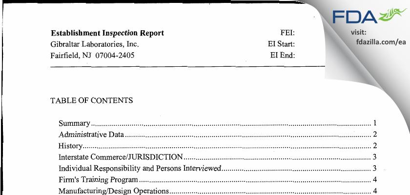 Gibraltar Labs FDA inspection 483 Jul 2011