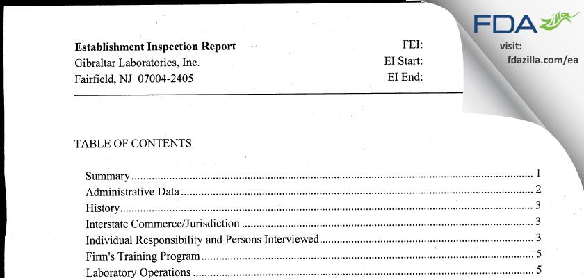 Gibraltar Labs FDA inspection 483 Jul 2012