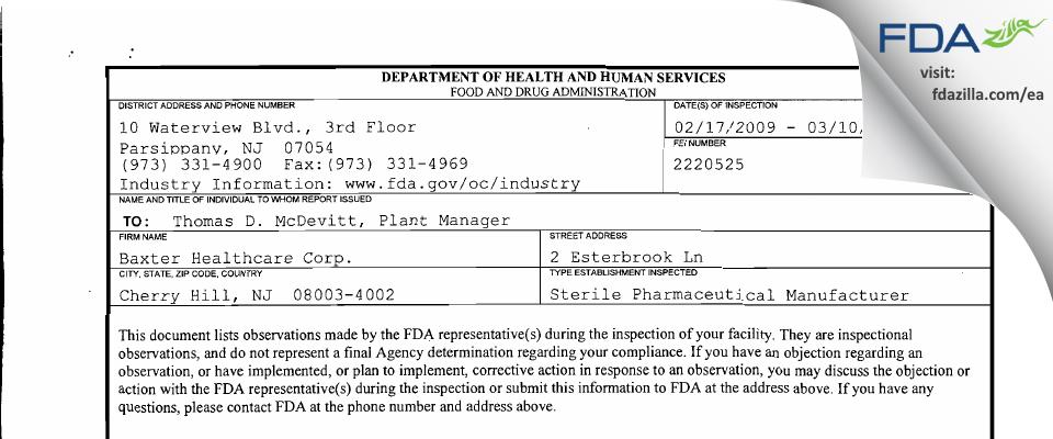 Hikma Pharmaceuticals USA FDA inspection 483 Mar 2009
