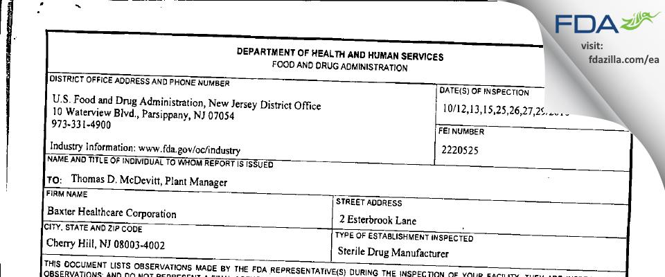 Hikma Pharmaceuticals USA FDA inspection 483 Oct 2010