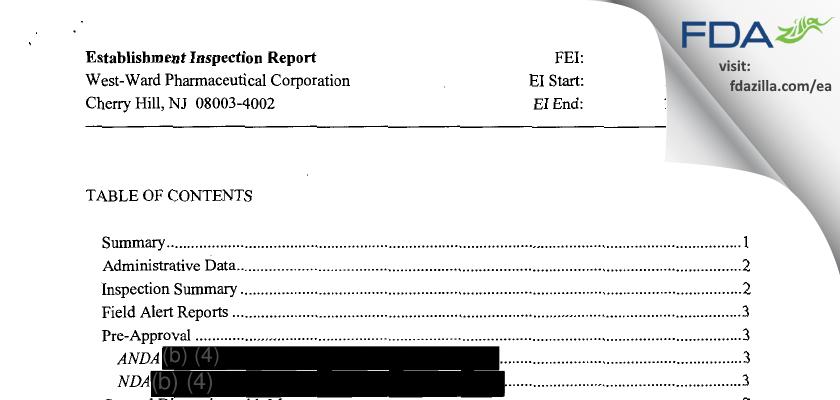 Hikma Pharmaceuticals USA FDA inspection 483 Oct 2013