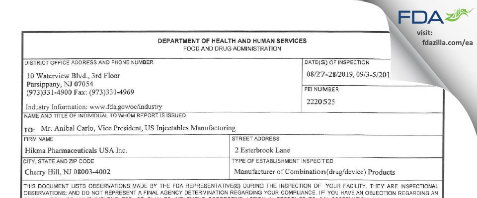 Hikma Pharmaceuticals USA FDA inspection 483 Sep 2019