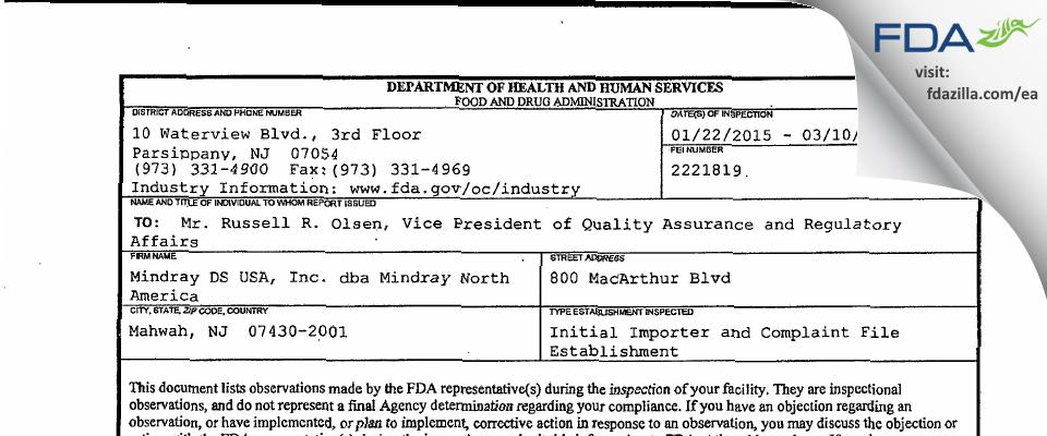 Mindray DS USA dba Mindray North America FDA inspection 483 Mar 2015