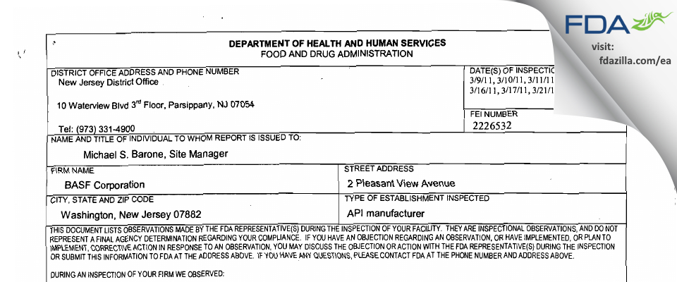 BASF FDA inspection 483 Mar 2011
