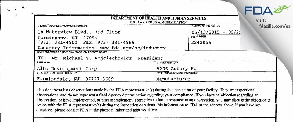 Alto Development FDA inspection 483 May 2015