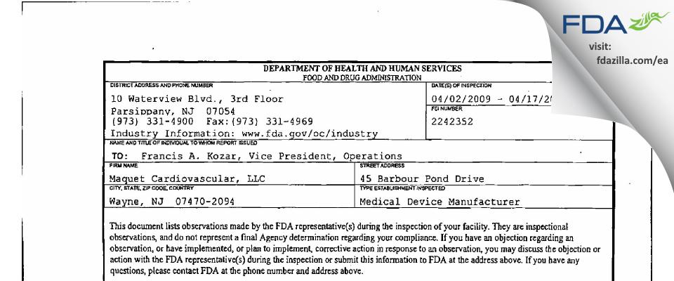 Maquet Cardiovascular FDA inspection 483 Apr 2009