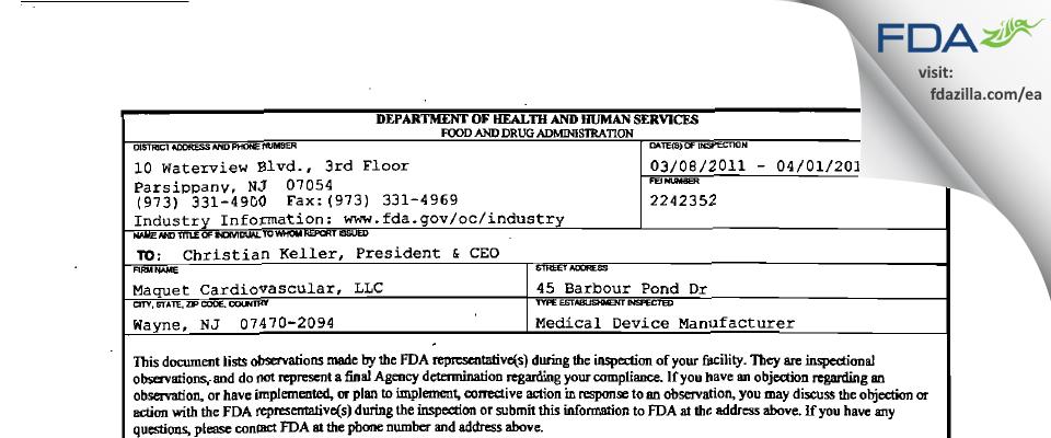 Maquet Cardiovascular FDA inspection 483 Apr 2011