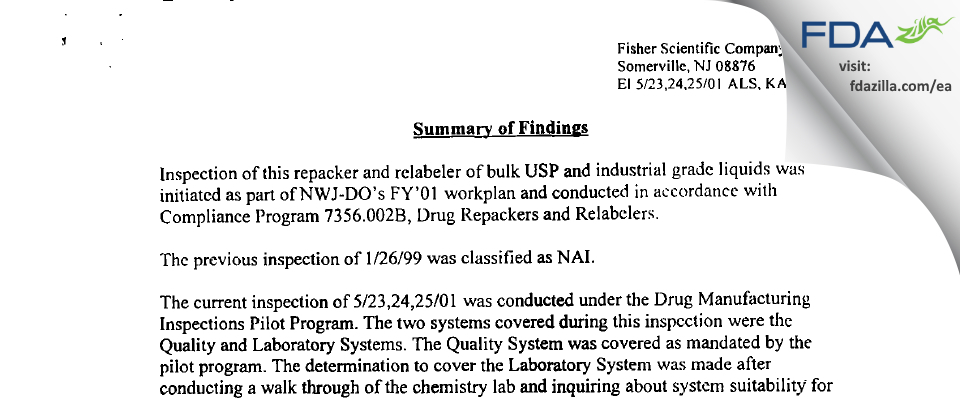 Fisher Scientific FDA inspection 483 May 2001