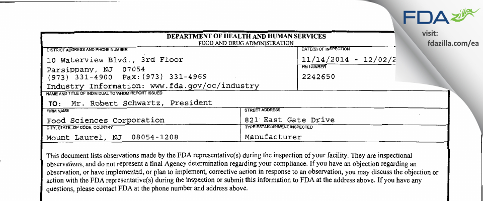 Food Sciences FDA inspection 483 Dec 2014