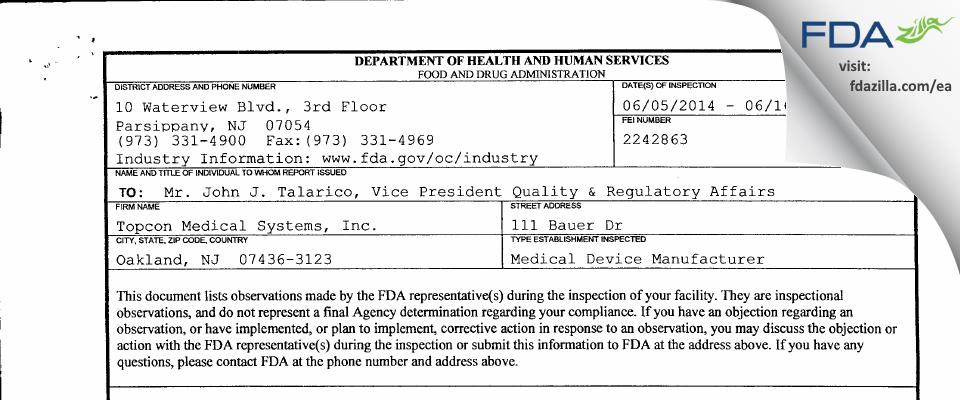 Topcon Medical Systems FDA inspection 483 Jun 2014