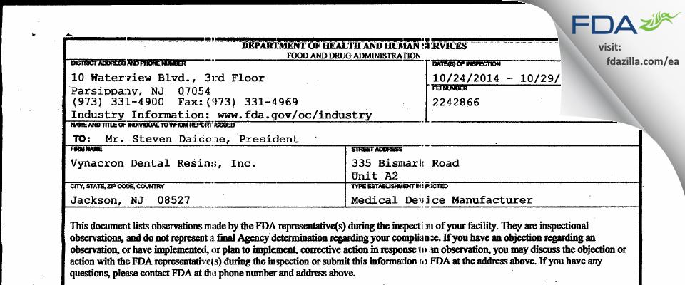 Vynacron Dental Resins FDA inspection 483 Oct 2014