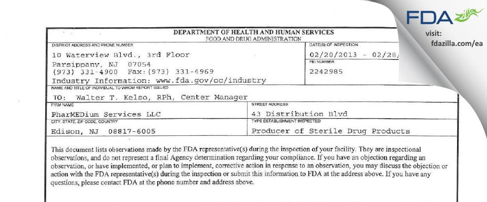 PharMEDium Services FDA inspection 483 Feb 2013