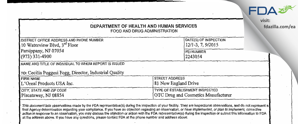 L'Oreal USA Products FDA inspection 483 Dec 2015