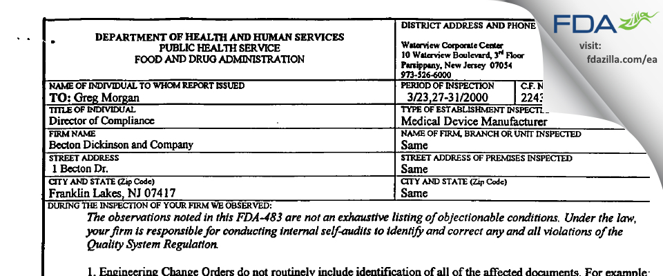 Becton Dickinson & Company FDA inspection 483 Mar 2000