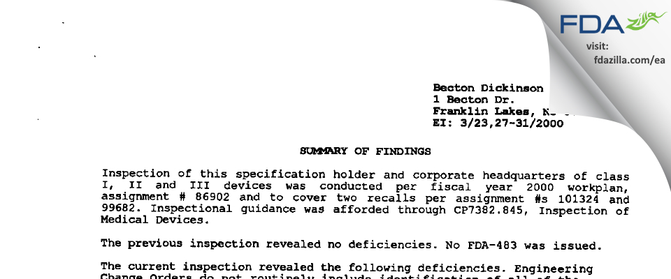Becton Dickinson & Company FDA inspection 483 Mar 2000
