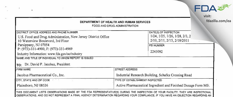 Jacobus Pharmaceutical Company FDA inspection 483 Feb 2011