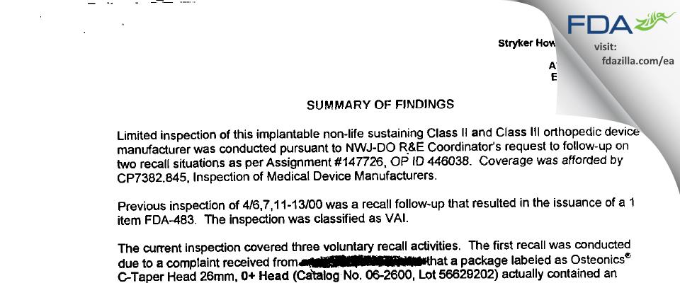 Howmedica Osteonics FDA inspection 483 Oct 2000