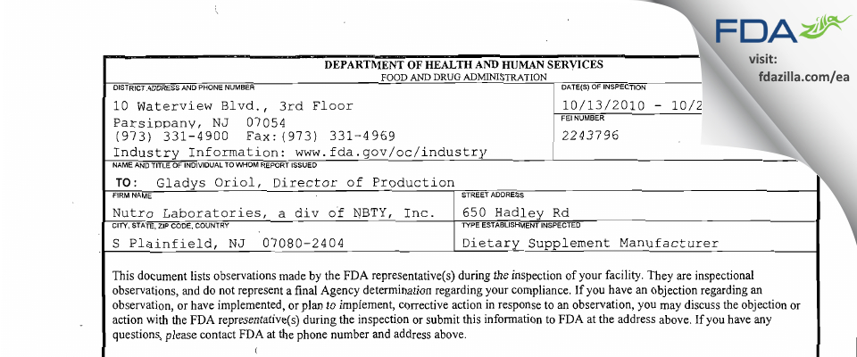 Nutro Labs, a div of NBTY FDA inspection 483 Oct 2010